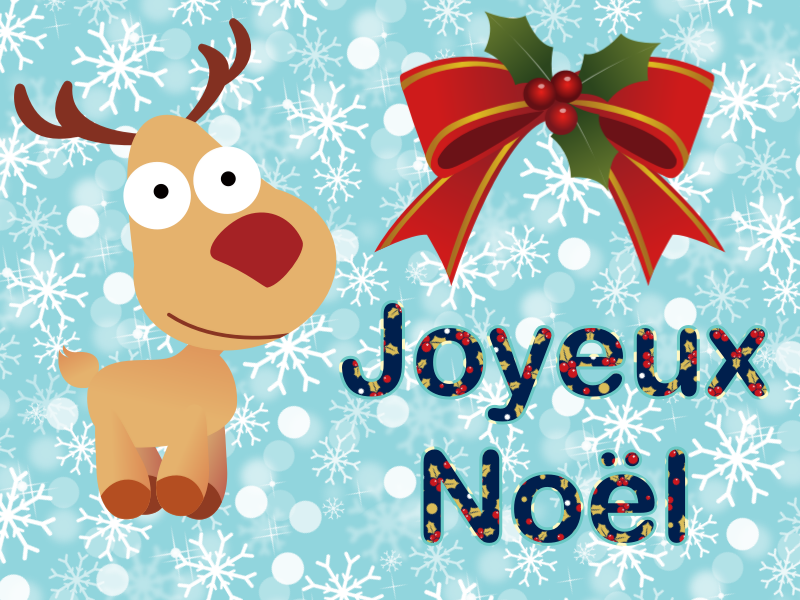 Joyeux Noël - Renne et houx